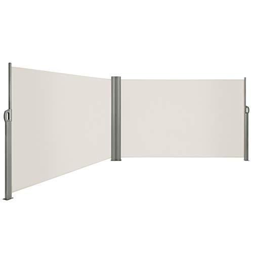 LARMNEE Doppelseitenmarkise ausziehbare, Rahmen aus Vollaluminium, 180 x 600 cm, Sichtschutz, UV-beständig, Seitenmarkise, Seitenrollo, Seitendächer, Standmarkise, Beige EBE186BP02
