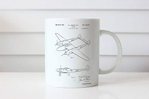 P38 Bliksem Patent Mok USAF Luchtvaart Mok Pilot Gift Vliegtuig Mok
