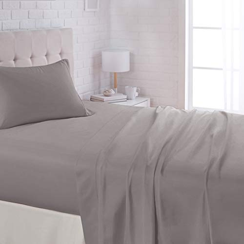 AmazonBasics Lightweight Super Soft Easy Care Microfiber Sheet Set with 16' Deep Pockets - Full, Dark Grey