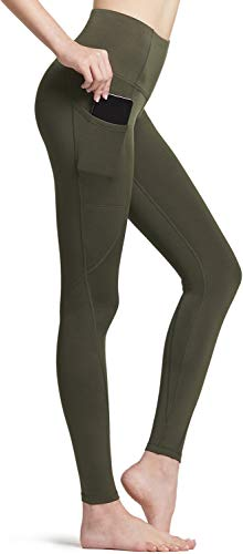TSLA Women's Thermal Yoga Pants Wintergear Compression Leggings Tights, Thermal Pocket(xyp84) - Olive, Small [Size 6-8_Hip37-39 Inch]
