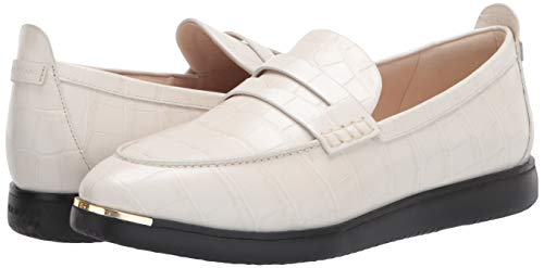 Cole Haan womens Grand Ambition Troy Penny Slipon Sneaker Loafer Flat, Ivory Croc Print Leather/Black Os, 7 US
