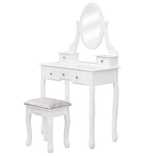 Alightup - Tocador con espejo giratorio, mesa de maquillaje, gran cómoda con taburete de escritorio y tocador con 5 cajones para mujer o niño