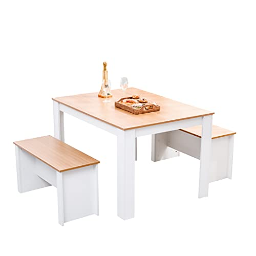 Homeke Wooden Dining Set Table with 2 Benches Grey/White Oak Dining Room Garden Bench for 4-6 People (White+Oak, 120CM)