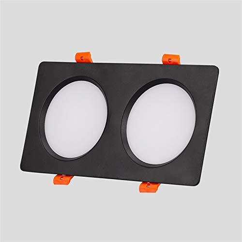 GLBS 14W/30W/36W Negro Doble Cabeza Empotrable Iluminación Espacio Destacado Dormitorio Sala De Estar Pórchido Panel De Techo Luz De Aluminio Casa LED Downlight (Color : 30W, Size : White Light)