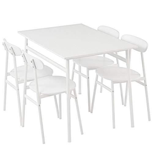 ぼん家具 ダイニングセット ダイニングテーブル 5点セット 4人用 チェア4脚 110×70cm おしゃれ ホワイト