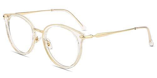 Firmoo Gafas Luz Azul para Ordenador Gaming UV Filtro Proteccion Ojos Antifatiga Gafas para Mujer Hombre,Gafas Montura Redondo Clásico