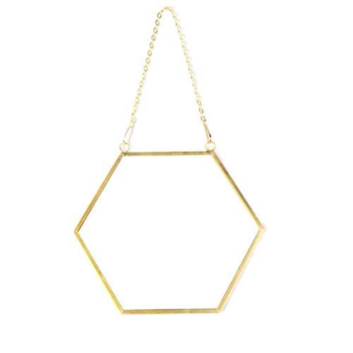 Funnyrunstore Nordic Minimalista Decoración del hogar Forma geométrica Oro Latón Espejo Hexagonal Espejo de baño Espejo de Entrada Espejo de Maquillaje