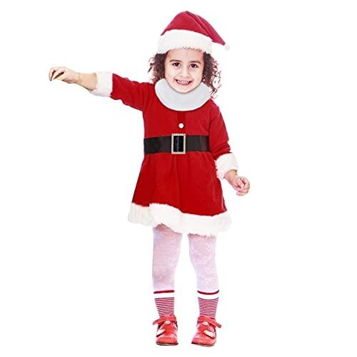 Rmoon Christmas Baby Girl Costume di Natale per Bambino Bambina Vestito Pagliaccetto Completo Tutina in Velluto Morbido Caldo Abito per Festa Natale Capodanno 0-4 Anni