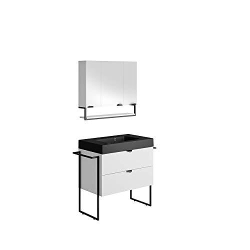 Allibert Badmöbel Set Unterschrank 80 cm Waschbecken Spiegelschrank vormontiert