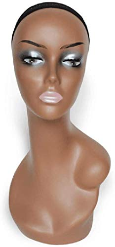 Mannequins de couture reglable Perruque, Tête de Femme modèle Perruque Manikin Mannequin Foulard Lunettes Chapeau Présentoir Porte vêtement Mannequin (Color : Black)