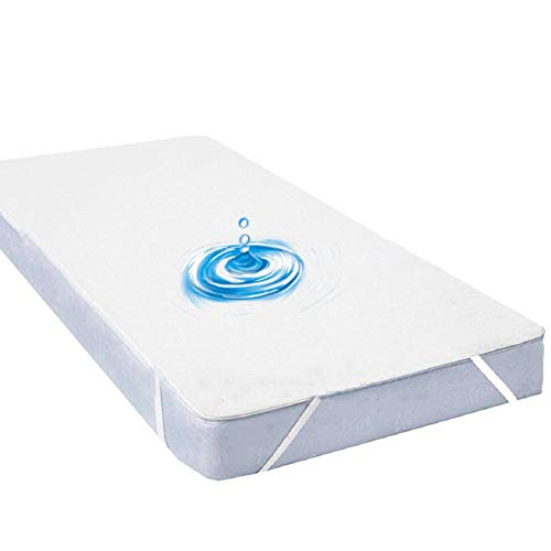 GEBIN Mattress Protector Waterproof with 4 Elastic Bands,Terry Cotton Mattress Cover Protector Fitted Sheet,Breathable,Anti-Mite,Anti-Bacterial, Anti-Mold. (90 x 200cm)