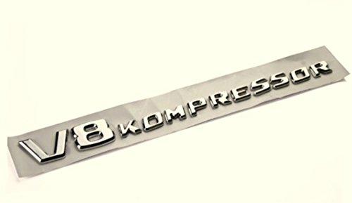 V8 Kompressor Chrom Emblem, Schriftzug selbstklebend