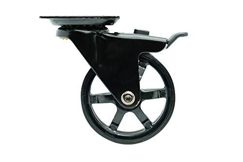 Headbourne 8276E 3 inch Polyurethane Mag, 4 Pack Designer Caster, 3-Inch, Gloss Black, 4 Count