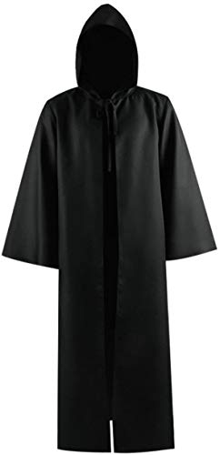 Rongxu Adult Tunic Hooded Robe Men Knight Cloak Halloween Fancy Cool Cosplay Costume Cape US Size (Large, Black)
