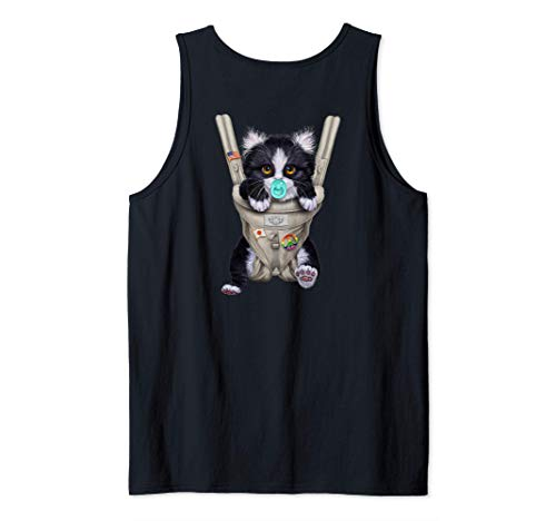 Gato tuxedo con chupete en portabebé Camiseta sin Mangas