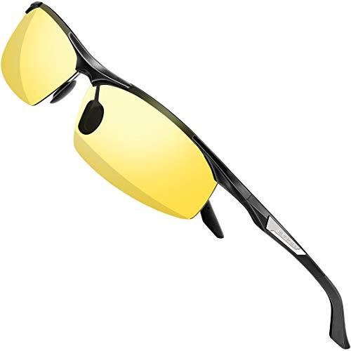 SIPLION Herren nachtsichtbrille Treiber Glasses Al-Mg Metallrahme Ultra leicht 8729 Nachtbrillen