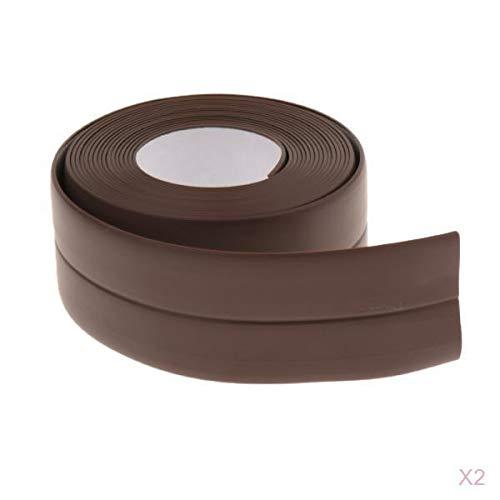 Milageto 2xKüchen Wasserdichtes Wandnaht Dichtungsband Brown Tub Caulk Strip 38mmx3.2m