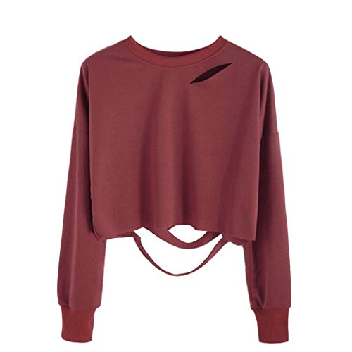 Fashion Women's Crop Tops Round Neck Long Sleeve Hole Cutout Ripped Hem Pullover Sweatshirt Wine