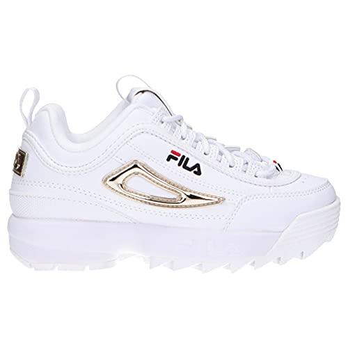 FILA Disruptor M kids Sneaker Unisex - Bambini, Bianco (White/Gold), 35 EU