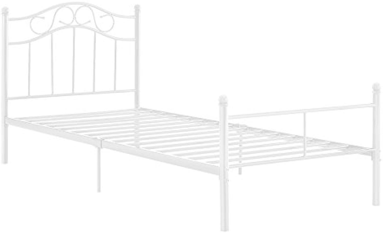 [en.casa] Metallbett 120x200 wei Bettgestell Bett Jugendbett Metall