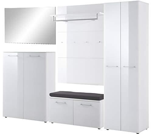 ambiato Saskia 6-TLG. Garderobeset 3 met schoenenbank, zitkussen, garderobekast, garderobepaneel, schoenenkast en spiegel, in wit