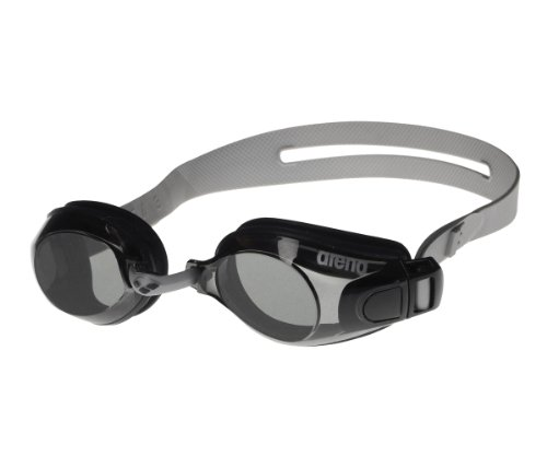 arena Unisex Training Freizeit Schwimmbrille Zoom X-Fit (UV-Schutz, Anti-Fog Beschichtung, Harte Gläser), Black-Smoke-Clear (55), One Size
