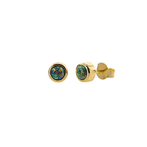 14k Gold FILLED 5mm October Birthday Birthstone Womens Jewelry Gift Idea Black Opal Stud Earring