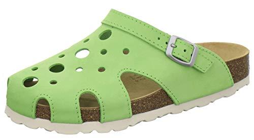 AFS-Schuhe 2993C Clogs Damen aus Leder, Bequeme Hausschuhe für Frauen, praktische Arbeitsschuhe, Made in Germany (40 EU, Apfel/grün)