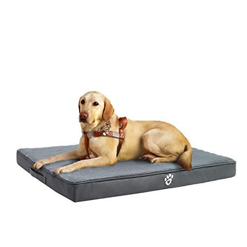 FRISTONE Orthopädisches Hundebett für Kleine Mittlere Große Hunde, Waschbar Hundematratze, Eierkistenform Schaum Hundekissen mit Abnehmbarem Bezug,XXL,Grau