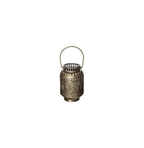 AC-Déco Lanterne avec Poignée Dorée - Met - D 12 x H 18,5 cm - Fer