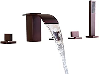 Lovedima Solid Brass 5-Hole Waterfall Deck Mount Bathroom Roman Tub Faucet in Oil Rubbed Bronze(Oil Rubbed Bronze)