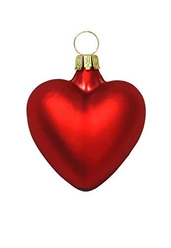 Herzen klein rot matt 4 Stück Christbaumschmuck Weihnachtsbaumschmuck mundgeblasen Lauschaer Glas das Original