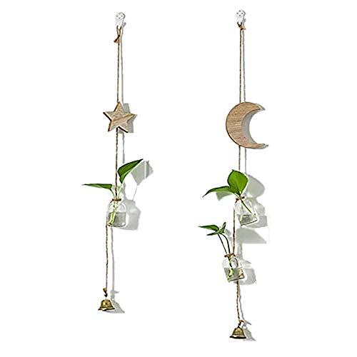 Zunbo Set of 2 Fioriere Vasi Sospese in Vetro Contenitori per Piante Acquatiche Decorazione a Forma Luna e Stella, Giardino Domestico Balcone