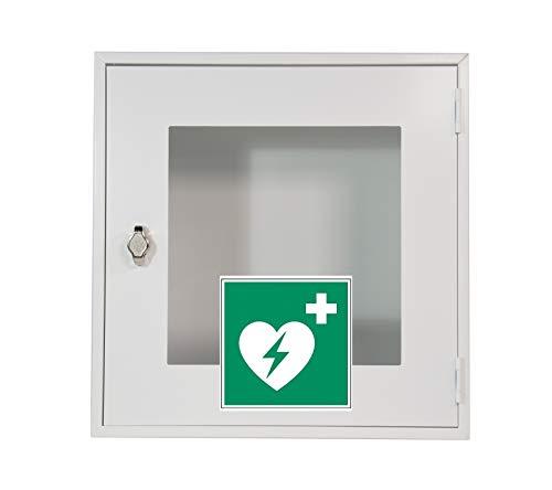 Lüllmann Indoor Metallwandkasten für Defibrillatoren (AEDs) AED Schrank 400mm x 400mm x 200mm (Höhe x Breite x Tiefe) 620250