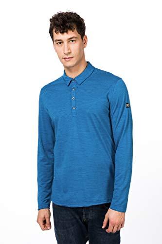 super.natural Parzi Polo à Manches Longues en Laine mérinos pour Homme S Vallarta Blue Melange