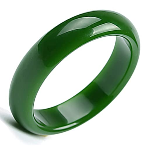 XYEJL Einfache Trendige Jade Armreifen,Im China Stil Grüner Natürlicher Hotan Jade Armreif,Handgeschnitzte Armreif Dame Mädchen Edlen Schmuck,62~66mm