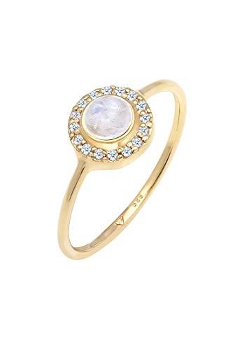 Elli Anillo Mujer Compromiso con Piedra Lunar y Diamante (0,08 ct) en Oro Amarillo 585