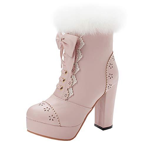 Etebella Damen Kawaii Lolita Boots Plateau High Heels Blockabsatz Stiefeletten mit Schleife und Warm Fell Süße Vintage Schuhe (Rosa,42)