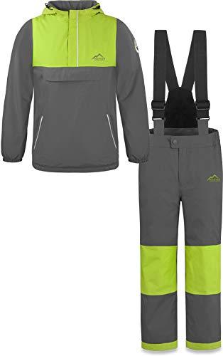 normani Kinder WinterSet wasserdichte Thermohose und Windbreaker Schneeanzug SkiSet für Jungen und Mädchen Farbe Grau Größe XXS/98-104