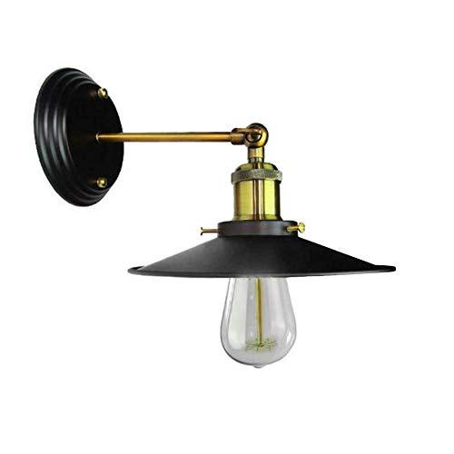 Harwls wandlamp, antieke look, zwart, industriële, retro, wandlamp, lampenkap van metaal, 240 graden, verstelbaar