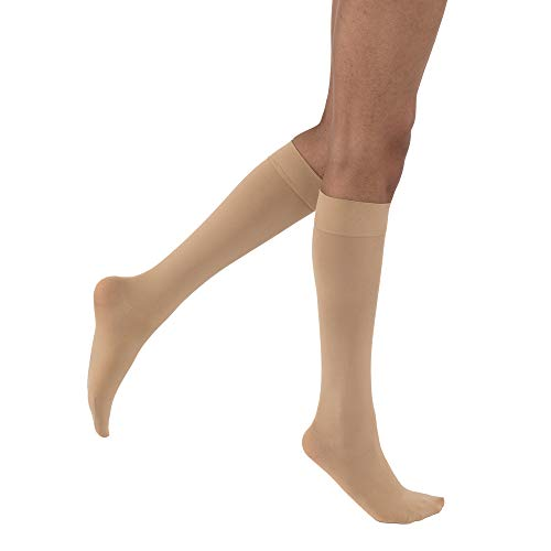 JOBST Opaque Knee High 15-20 mmHg Compression Stockings, Closed Toe, Medium Petite, Natural