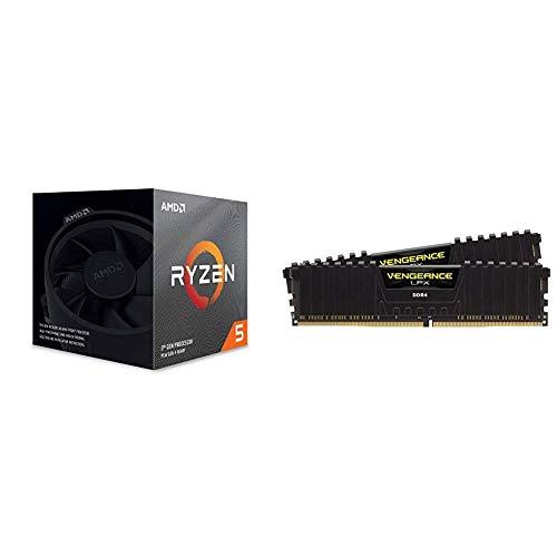 AMD Ryzen 5 3600x 4,4GHz AM4  36MB Cache Wraith Spire + Corsair Vengeance LPX 16GB (2x8GB) DDR4 3200MHz C16 XMP 2.0 High Performance Desktop Arbeitsspeicher Kit (für AMD Ryzen) schwarz