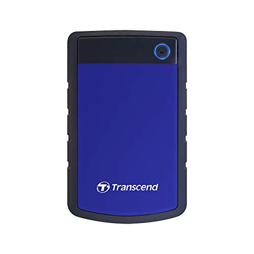 Transcend 2TB tragbare, robuste und stabile USB3.1 externe Festplatte (HDD) mit Backup-Funktion (Datensicherung per Knopfdruck); Plug & Play; TS2TSJ25H3B