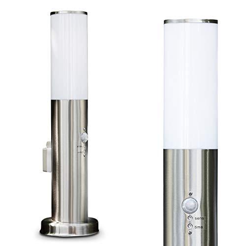 Buitenverlichting Caserta met bewegingsmelder en stopcontact, moderne basisverlichting van rvs en kunststof schijven, padverlichting 45 cm, tuinlamp met E27 stopcontact, max. 15 Watt, tuinverlichting IP44