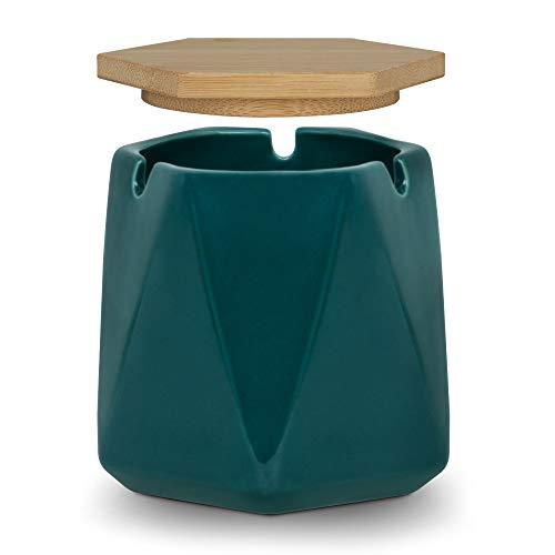ONEDERZ Posacenere con Coperchio da Esterno, Ceramica Posacenere da Tavolo per Sigaro Resistente al Calore, Portacenere Portatile Design Elegante Antivento Adatto per Uffici e Giardini Esterni(Verde)