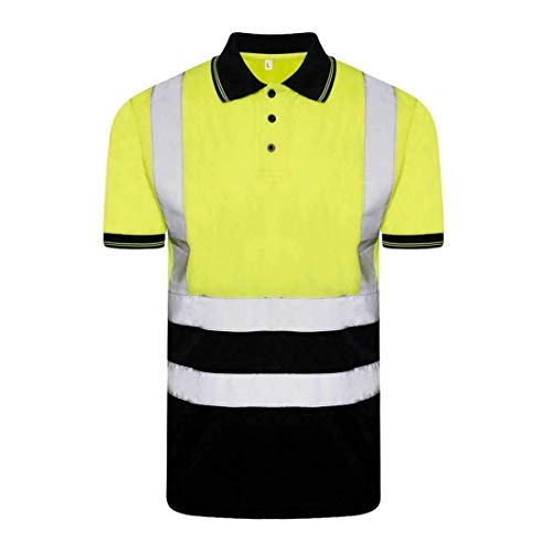 Islander Fashions Erwachsene High Visibility 2 Tone Top Herren Kurzarm Arbeit tragen Hi Vis T-Shirt (Polo Neck Yellow/Navy) 3X Large