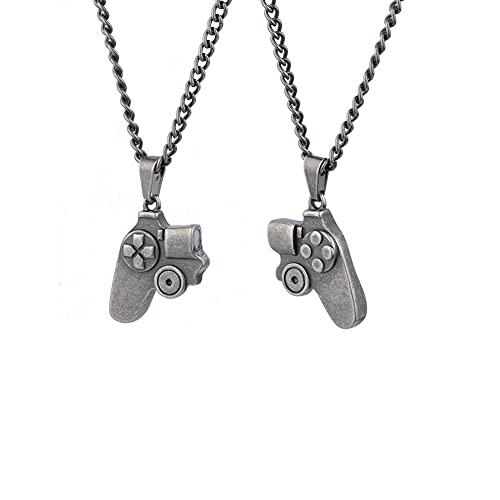 Paar Magnetische Halskette, Spielekonsolen Entwurf Halskette Pärchen Anhänger Halskette, passende Halsketten für Paare, ersprechensgeschenk für Liebhaber für Bar Restaurant Geburtstagsfeier Silber