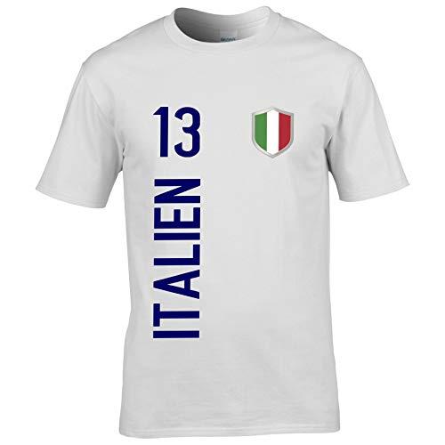 FanShirts4u Herren Fanshirt Jersey Trikot Italien Italia Italy T-Shirt inkl. Druck Wunschname u. Wunschnummer EM WM (4XL, Italien/weiß)