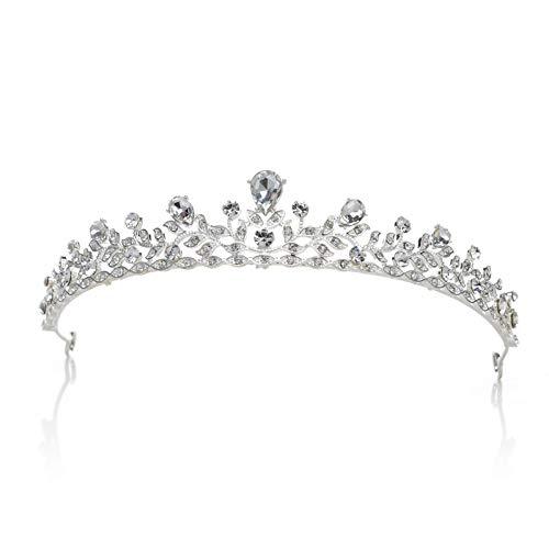 SWEETV Crystal Wedding Tiara for Bride & Flower Girls - Princess Tiara Headband Pageant Crown, Bridal Hair Jewelry for Women and Girls, Silver