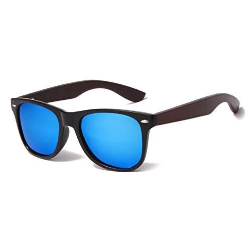 YAMEIZE Wood Sunglasses Polarized for Women Men 100% UV Protection Fishing Driving Wooden Bamboo Frame Glasses (Black Blue Film)